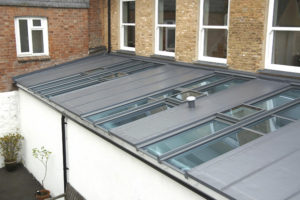 Combination of glass and Sarnafil pitched roof.
